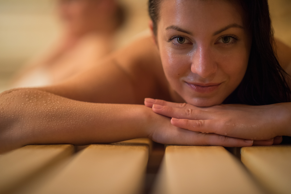 sauna blanket relaxing women